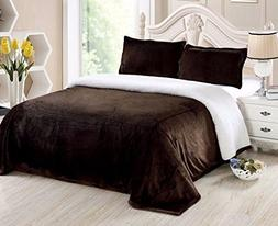 Chezmoi Collection Micromink Sherpa Reversible Throw Blanket