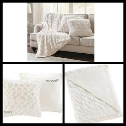 Comfort Spaces Faux Fur Throw Blanket Set – Fluffy Plush B