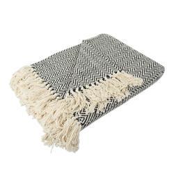 DII Rustic Farmhouse Cotton Chevron Blanket Throw W Fringe F