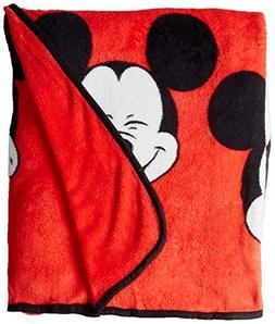 "Jay Franco Disney Mickey Mouse Faces 62"" x 90"" Plush Twin Bl"