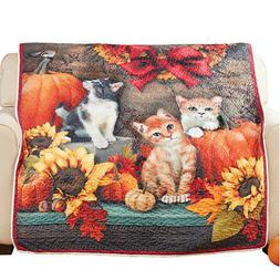 Fall Pumpkins, Cats and Sunflowers Quilted Throw Blanket Liv