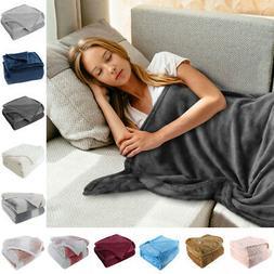 Flannel Fleece Blanket Warm Microfiber Blanket for Bed Sofa
