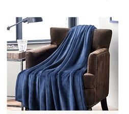 Flannel Fleece Luxury Blanket Blue Navy Throw Lightweight Co