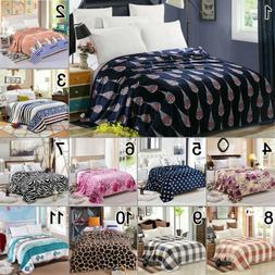 Flannel Throw Blanket Soft Bedding Bedspread Single Double Q