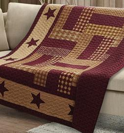 HOMESTEAD RED BARN STAR 50x60 QUILT THROW : COUNTRY FARMHOUS