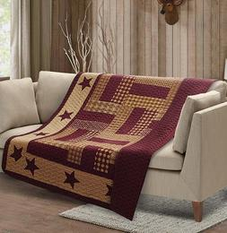 HOMESTEAD RED BARN STAR QUILT THROW : COUNTRY FARMHOUSE BURG