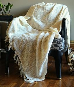 Handmade Cotton Woven Soft And Warm Throw Blanket For Sofa a
