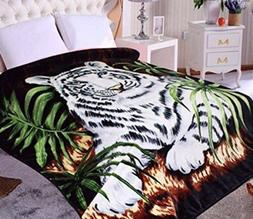 Hiyoko White Tiger Animal Mink Blanket Throw Bedspread Comfo