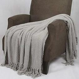 Home Soft Things BOON Knitted Tweed Throw Couch Cover Blanke