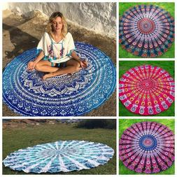 Indian Bohemian Tapestry Mandala Beach Throw Towel Round Yog