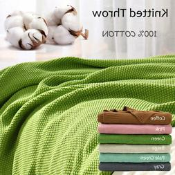 Large Throw Soft 100% Cotton Knit Blanket Thick Knit Throw B