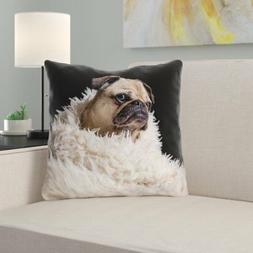 Latitude Run Karlos Pug in Blanket Throw Pillow