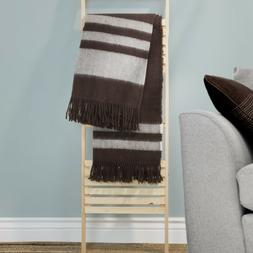 Lavish Home Australian Wool Throw Blanket Brown Fringe 50 x