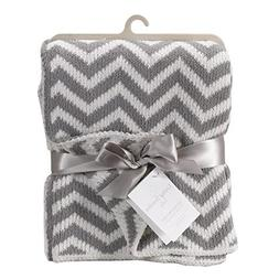 Living Textiles Chenille Baby Blanket. Grey Chevron Ultra-So