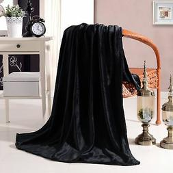 "Luxury Flannel Velvet Plush Throw Blanket - 50"" x 60"" Black"