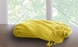 Marcini Bamboo Fiber Cotton Throw Blanket - Yellow