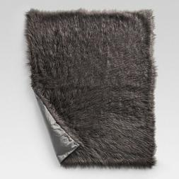"Mongolian Faux Fur Throw Blanket, 50""x 60"" - Grey"