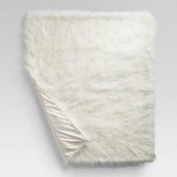 "Mongolian Faux Fur Throw Blanket - Project 62 Cream  60""x50"""