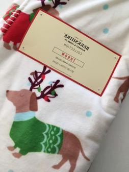 "NEW Berkshire Christmas Holiday DACHSHUND Throw Blanket 50""x"