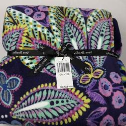 NEW Vera Bradley Plush Throw Blanket in Batik Leaves