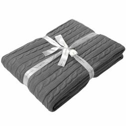 Ultra Soft Throw Blanket Warm Cotton Cable Knit for Bed Couc