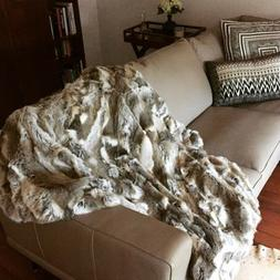 Natural Rex Rabbit Fur Throw 100% Real Rex Fur Bedspread / B