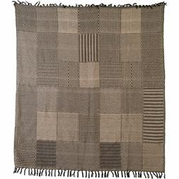 New Country Primitive Farmhouse BLACK PATCHWORK THROW Woven