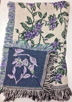 """New Floral Afghan Throw Blanket Tapestry Purple Woven 40"""" x"""