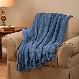 New Large Fringe Chenille Knitted Throw Blanket Winter Cover