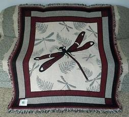 New NWT Dragonfly Afghan Tapestry Throw Blanket Fern Wall De