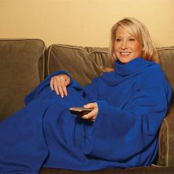 New ! Snuggie Fleece Blanket Sleeves Soft Throw Blanket - Bl