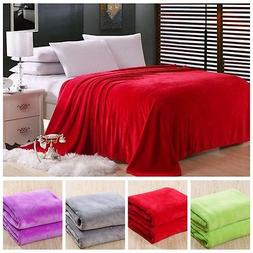 New Super Soft Luxurious Fleece Throw Blanket 3 Solid Colors