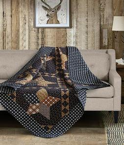 PADUCAH STAR 50x60 QUILT THROW : COUNTRY CABIN BLUE BROWN BL