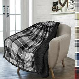 plaid throw blanket sherpa fleece super soft