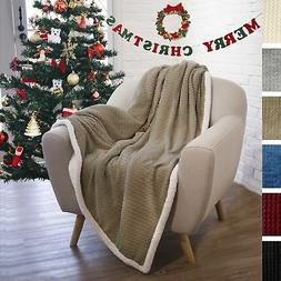 Premium Chevron Sherpa Throw Blanket by Pavilia   Super Soft