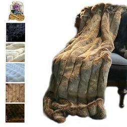 Premium Faux Fur Throw Blanket, Minky Cuddle Fur Lining Chan