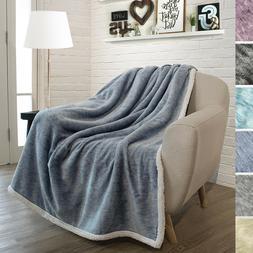 "Premium Melange Sherpa Throw Blanket by Pavilia   50"" X 60"""