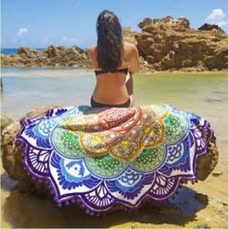 Round Beach Throw Towels Boho Lotus Flower Throw Blanket Wal