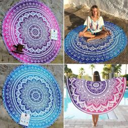 Round Mandala Tapestry Hippie Bohemian Beach Throw Towel Yog