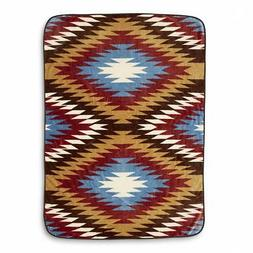 "SOUTHWEST BROWN BLUE TRIBAL AZTEC THROW BLANKET LARGE 60"" x"