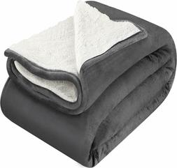 Sherpa Flannel Fleece Reversible Blanket Extra Soft Brush Fa