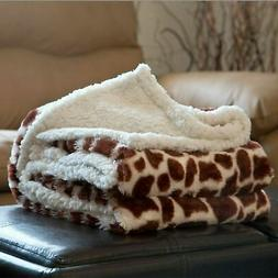 Soft Fuzzy Warm Cozy Throw Blanket with Sherpa Backing - 50