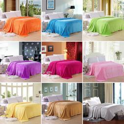 Solid Color Flannel Blanket Plush Throw Super Soft Cozy Diam