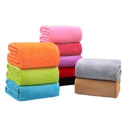 Super Soft Solid Flannel Throw Blanket Micro Plush Fleece Co
