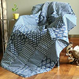 Throw Blanket Indigo Quilted Soft Indian Throw For Sofa Bed
