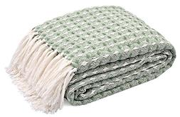 TreeWool, 100% Soft Premium Cotton Throw with Fringes Light