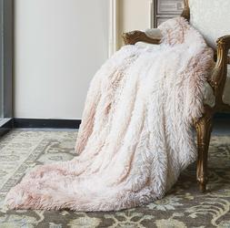 ULTRA BLUSH PINK FAUX FUR MINK THROW : 50 x 60 OMBRE MICRO S