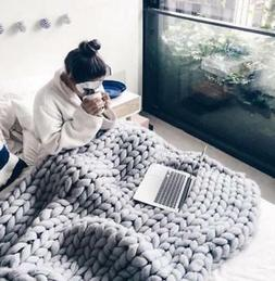 US Handmade Thick Knitted Blanket Wool Chunky Line Yarn Meri