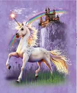 "Unicorn Castle Queen Size Plush Raschel ""Mink"" Blanket 79x95"