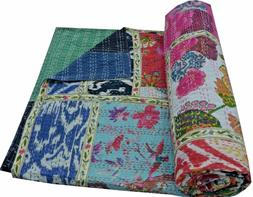 Vintage Indian Handmade Patchwork Twin Cotton Kantha Quilt T